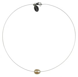 Zoetwater parelketting Single Pearl Wire P