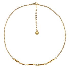 Cadeau set edelstenen ketting Morse Code Happy Gold Hematite