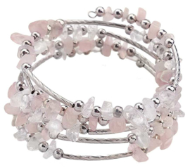 Edelstenen armband Wrap Rose Quartz Chip
