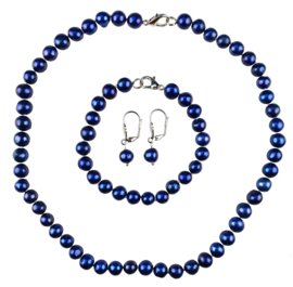 Zoetwaterparel set Pearl Royal Blue