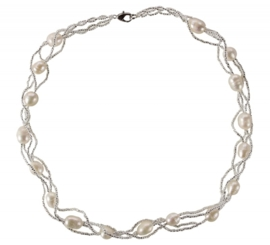 Zoetwater parelketting Twine Pearl White
