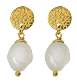 Zoetwater parel oorbellen Flow Round Gold Pearl