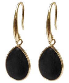 Edelstenen oorbellen Gold Drip Black Agate