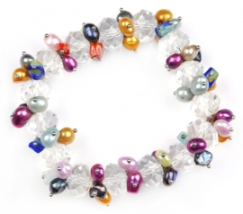 Zoetwater parel armband Colorfull Crystal