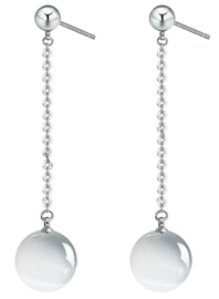 Edelstenen oorbellen Silver Dangling White Cat's Eye