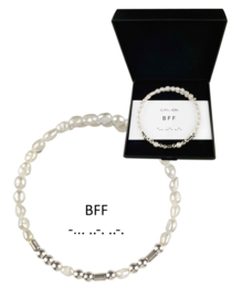 Cadeau set zoetwater parel armband Morse Code BFF Pearl Silver