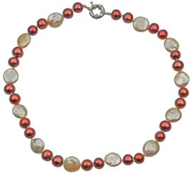 Zoetwater parelketting Red Pearl Peach Coin