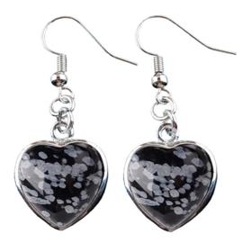 Edelstenen oorbellen Snowflake Obsidian Silver Heart