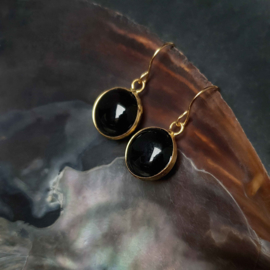 Cadeau set met edelstenen ketting en oorbellen Black Agate Gold Round