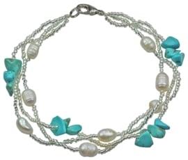 Zoetwater parel met edelstenen armband Twine Pearl Turquoise