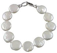 Zoetwater parel armband Coin White