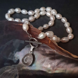 Zoetwater parelketting Toggle Pearl Smokey Quartz