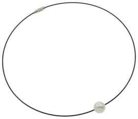 Mother of pearl parel ketting Wire Shiny Ball White