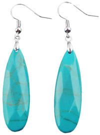 Edelstenen oorbellen Big Long Drop Turquoise