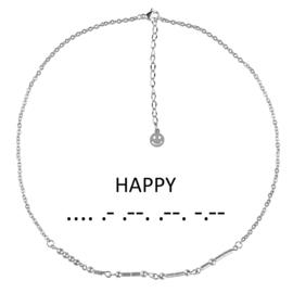 Cadeau set edelstenen ketting Morse Code Happy Silver Hematite