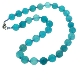 Edelstenen ketting Facet Blue Agate Ball