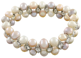 Zoetwater parel armband Double Soft Colors Pearl Bling