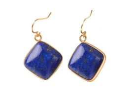Edelstenen oorbellen Lapis Lazuli Gold Square