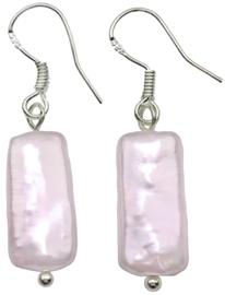 Zoetwater parel oorbellen Pearl Rectangle Pink