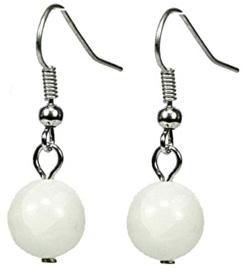 Edelstenen oorbellen Dangling White Ball