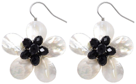 Parelmoeren oorbellen White Shell Flower Black Crystal