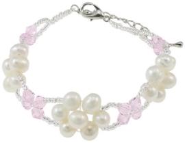 Zoetwater parel en kristallen armband Pearl Flower Pink Crystal