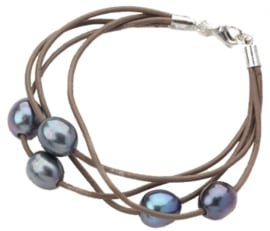 Zoetwater parel armband Leather Pearl Dark
