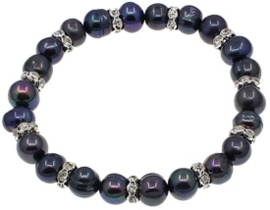 Zoetwater parel armband Bling Pearl Black