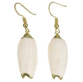 Schelpen oorbellen Pillar Seashell Gold