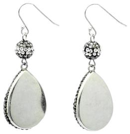 Edelstenen oorbellen Bright Grey Crystal Agate Small