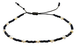 Zoetwater parel armband Mini Pearl Bead Black