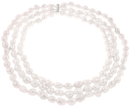 Zoetwater parelketting Three Row White Barok Pearls