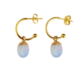 Edelstenen oorbellen Golden Hope 15 mm Sea Opal