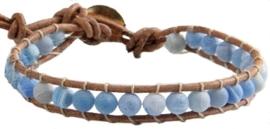 Edelstenen armband Wrap Blue Agate Effloresce