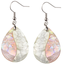 Parelmoeren oorbellen Crackle Rose Shell Teardrop