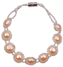 Zoetwater parel armband Pearl O Peach
