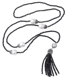 Zoetwater parelketting Bright Pearl Big Nut Tassel