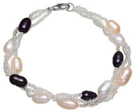 Zoetwater parel armband Twine Pearl Multi Color Two