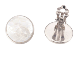 Parelmoeren clips oorbellen Clips White Shell Crackle