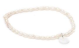 Zoetwater parel armband Biba White Rice Pearl