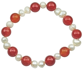 Zoetwater parel en edelstenen armband Pearl Red Agate