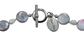 Zoetwaterparel en parelmoeren ketting Pearl Grey Shell R