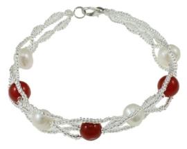 Zoetwater parel en edelstenen armband Twine Pearl Red Jade