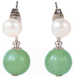 Zoetwater parel met edelsteen oorbellen Pearl Stud Green Aventurine