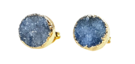 Edelstenen oorbellen Druzy Gold Royal Blue