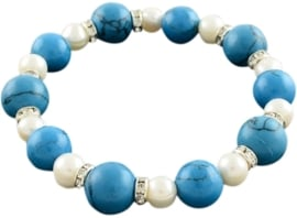 Zoetwater parel en edelstenen armband Bling Pearl W Turquoise