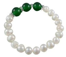 Zoetwater parel en edelstenen armband Pearl Green Jade
