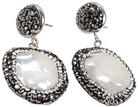 Zoetwater parel oorbellen Bling Coin Pearl