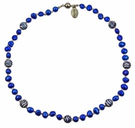 Zoetwater parelketting Hollands Glorie Golfje Blauw