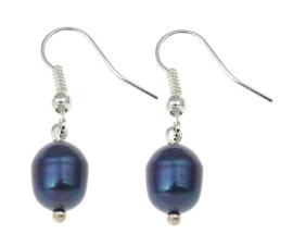 Zoetwater parel oorbellen Dangling Blue Pearl
